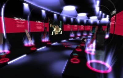 ドコモ洞窟とは反対側のショーケース一覧の携帯電話