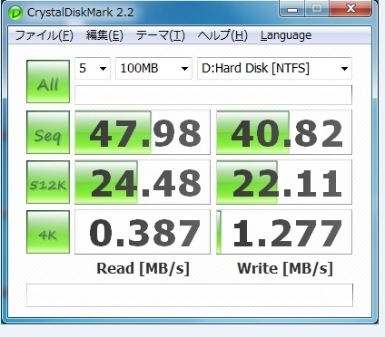 HD書き込み速度チェック SATA2.0