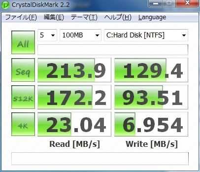 SSD Windows7プロフェッショナル OSインストール直後