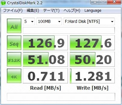 HD3.0 SATA2.0ケーブル接続で書き込み速度計測