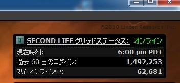 SecondLife Online数 2010-04-02金曜日 日本時間 am10時の人数