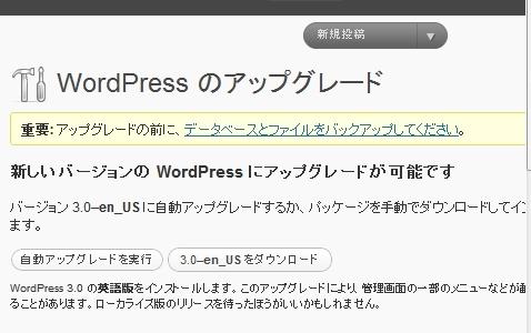 バージョン 3.0–en_US に自動アップグレードするか、パッケージを手動でダウンロードしてインストールすることができます。  3.0–en_US をダウンロード  WordPress 3.0 の英語版をインストールします。このアップグレードにより、管理画面の一部のメニューなどが翻訳されずに英語で表示されることがあります。ローカライズ版のリリースを待ったほうがいいかもしれません。