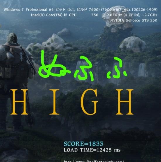 FF14ベンチマーク HIGHの結果 corei5とGTS250