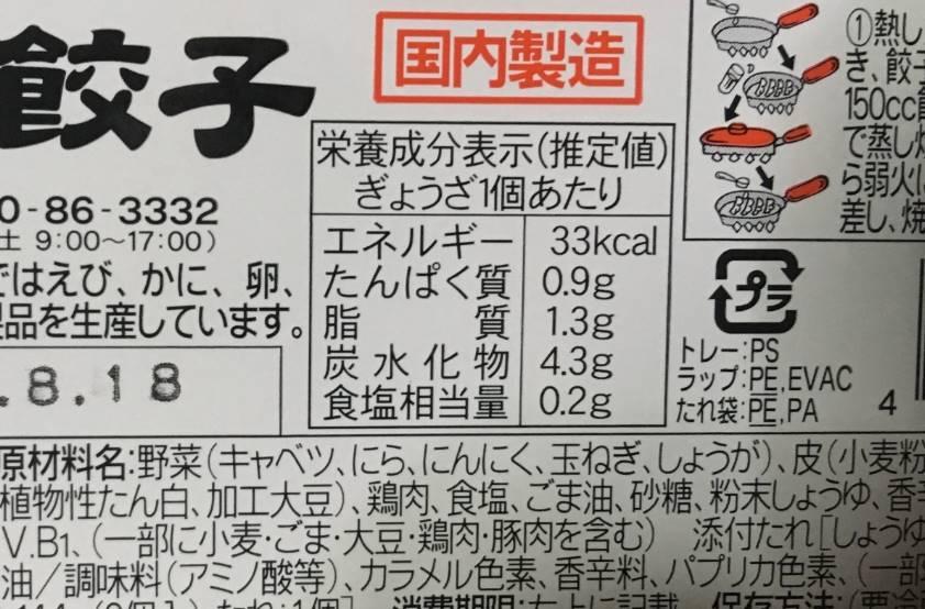 小さいサイズの餃子の栄養成分表示