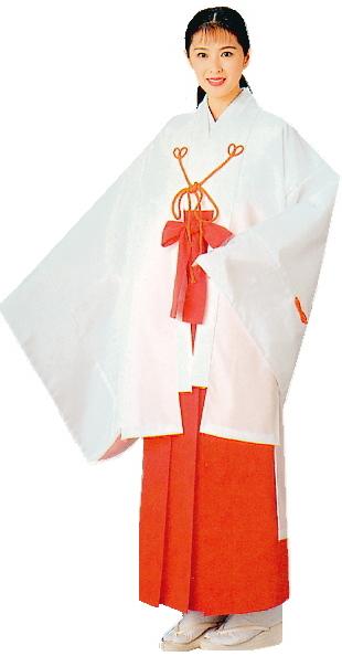千早(白)-巫女衣裳 神事・神楽舞用女官羽織 神道の千早衣裳