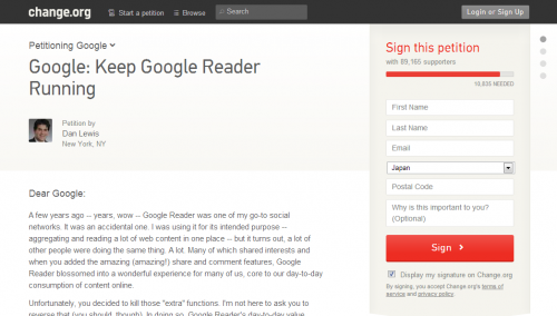 Petition   Google  Keep Google Reader Running   Change.org