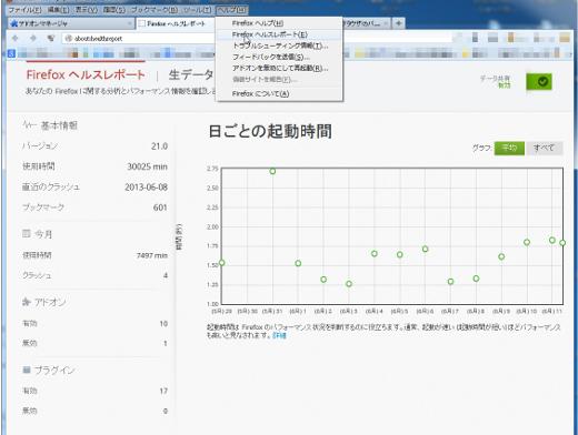 Firefoxヘルスレポートという画面