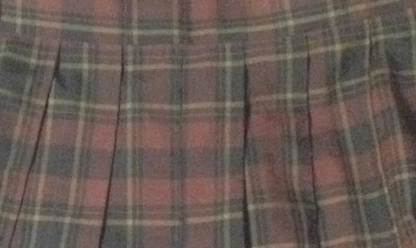 茶色生地 チェック柄プリーツスカート