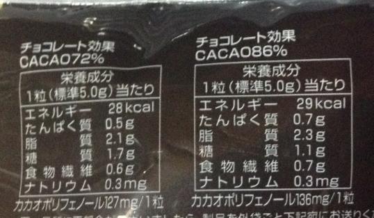 チョコレート効果72%と86%のカロリー等の栄養成分