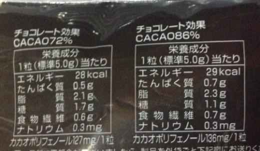 チョコレート効果72%と86%の1粒あたりのカロリー等の栄養成分