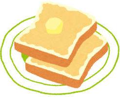 食パンのトーストにバターが乗っている絵