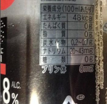 -196度ストロングゼロ〈ダブル完熟梅〉(サントリー)350mlの栄養成分表示