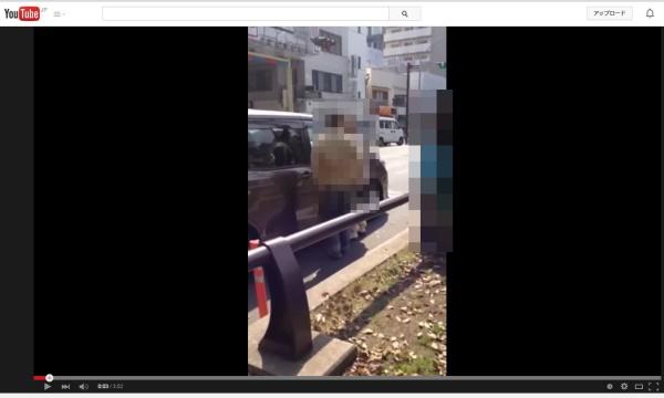 神奈川県ないで起きた歩行者が車のドライバー女性を恫喝する動画の写真