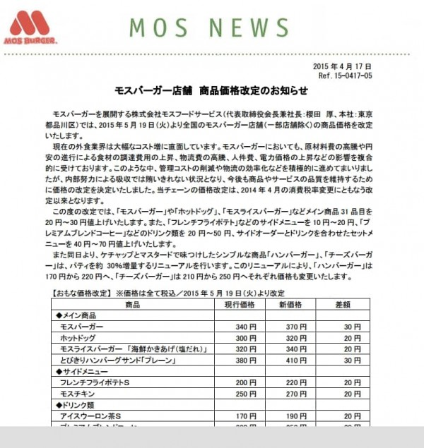 Notice of Mos Burger shop commodity price revision-