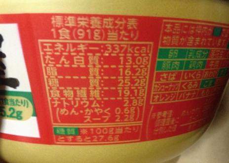 明星 低糖質麺 はじめ屋糖質50%オフ 栄養価