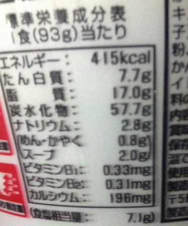I LOVE 玉ねぎ 豚だし醤油ラーメン(エースコック)栄養成分表示
