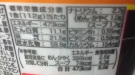 日清の大盛 印  辛い 担々麺の栄養成分表示