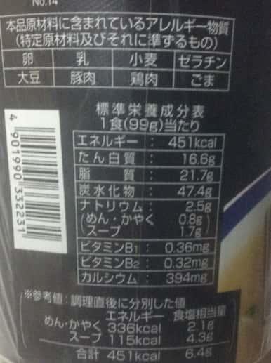 博多長浜らーめん 田中商店 栄養成分表示