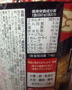 エースコック 鹿児島ラーメン 豚とろ 中里優士監修 豚骨醤油ラーメンの栄養成分表示
