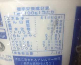 喜多方ラーメンの栄養成分表示