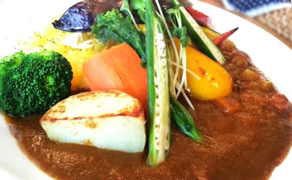 野菜が盛りつけられたカレーの写真