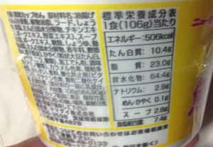 大盛魚介豚骨ニュータッチ 栄養成分表示