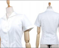 ホワイト半袖ブラウス(開襟タイプ)