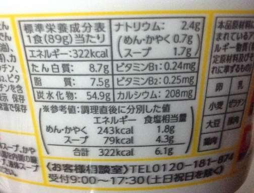 麺づくり醤油とんこつ|マルちゃん 栄養成分表示