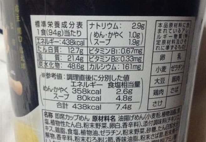 栄養成分表示TRY名古屋部門しお一位 進化塩ら