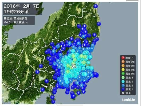地震の震度を表したサイトの画像