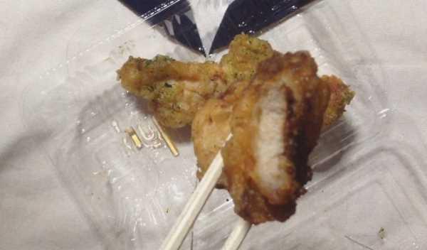桜島どりの鶏天~のり塩~ 一口食べた図