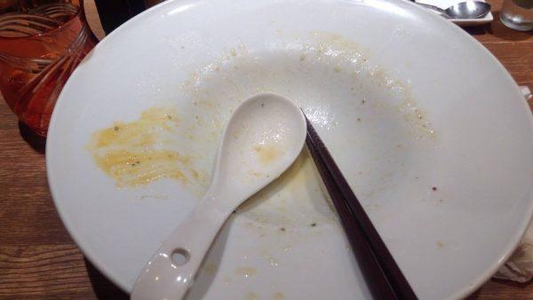 食べ終えた図 限定麺 白い混ぜそば 竹末東京プレミアム