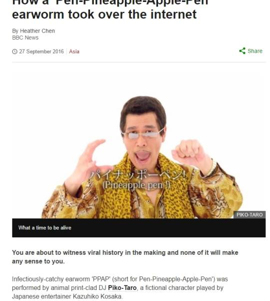 How a 'Pen-Pineapple-Apple-Pen' earworm took over the internet http://www.bbc.com/news/world-asia-37480920