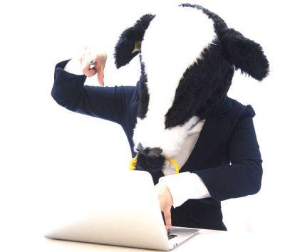 牛のお面を被ったサラリーマン