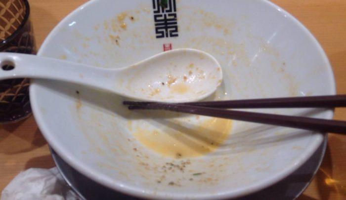限定麺 赤いホタテらうめん写真完食した図