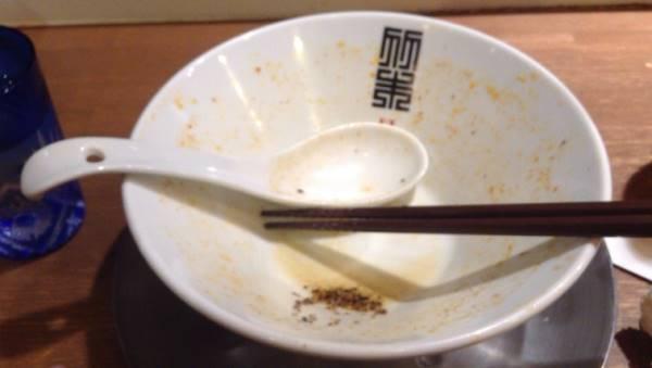完食した図トムヤン麺 ¥900円 (トムヤムクン風のラーメン)