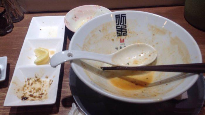 misoらうめん〜2017キンメダイと共に〜を食べ終えた容器