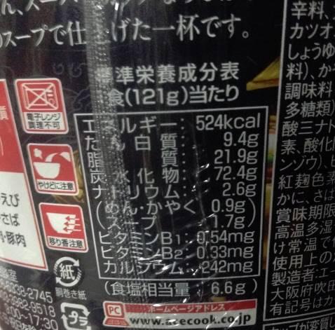 栄養成分表示:近畿大学水産研究所つるとんたん監修 スーパーカップ1.5倍のカレーうどん