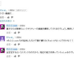 D1z eL_ が当方の動画に書き込んだYoutubeコメント例