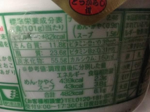 マルちゃんの緑たぬきの栄養成分表示