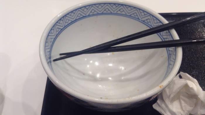 吉野家牛丼並盛 完食した丼の写真