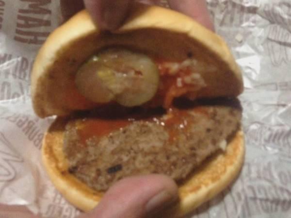 マクドナルドの100円バーガーのハンバーガー