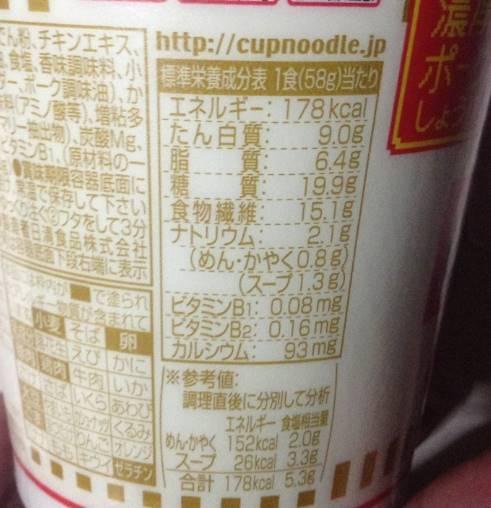 日清カップヌードルナイスの栄養価
