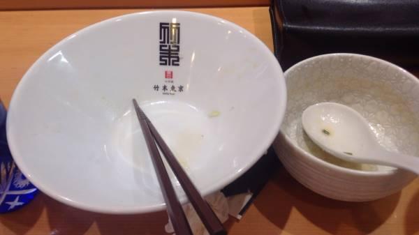 完食した図 竹末東京プレミアムにて 鶏つけそば
