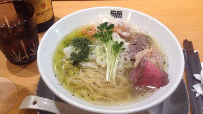 竹末東京プレミアムの限定麺海老塩そば〜大葉ソースと共に〜