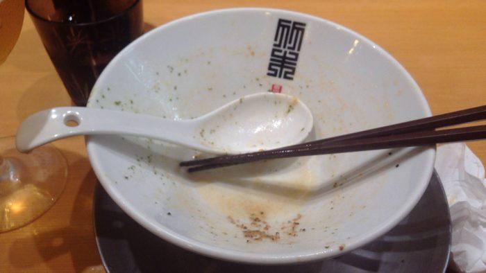 竹末東京プレミアムの限定麺海老塩そば〜大葉ソースと共に〜を完食した写真
