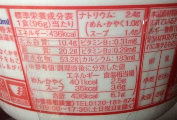 栄養成分表示西日本版 あかいきつね(マルちゃん)