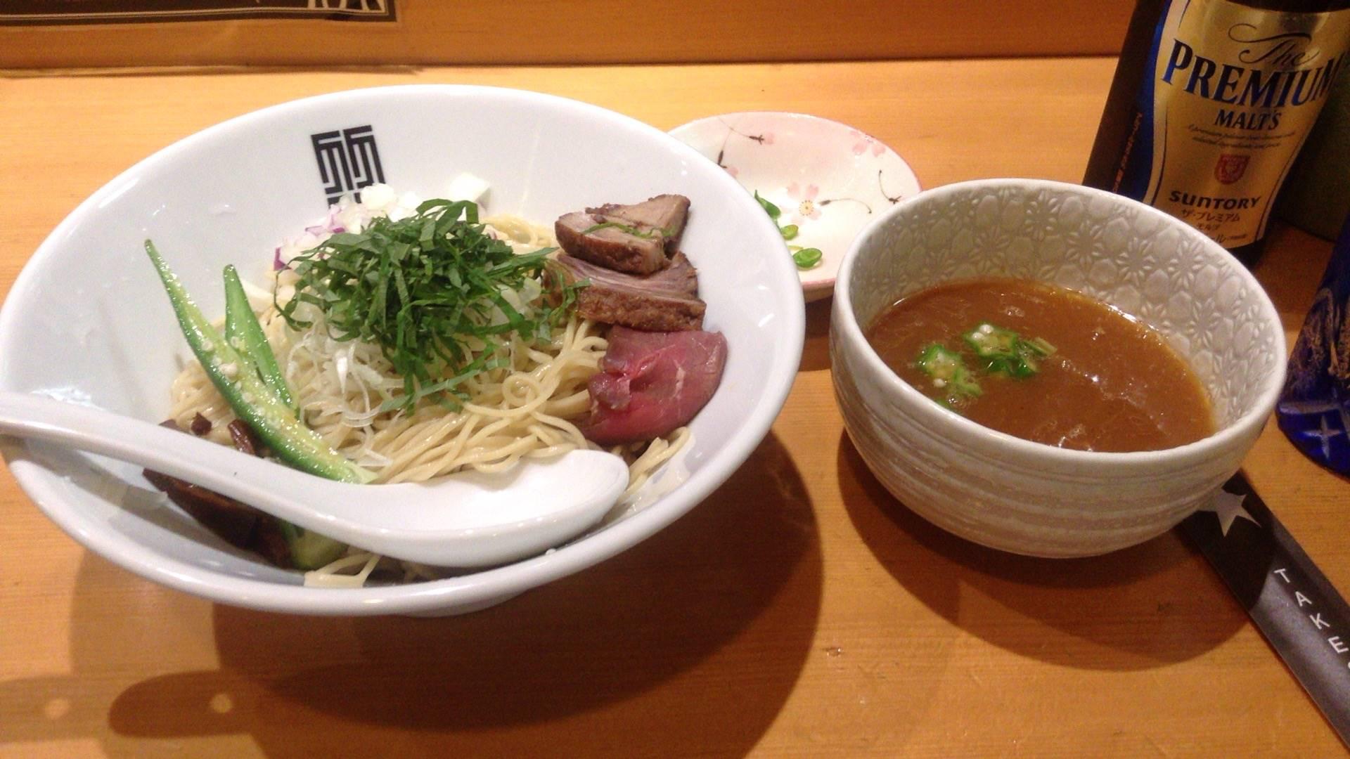 スープ:煮干しとちょっぴり牛出汁のあっさりつけ麺 竹末東京プレミアムの限定麺