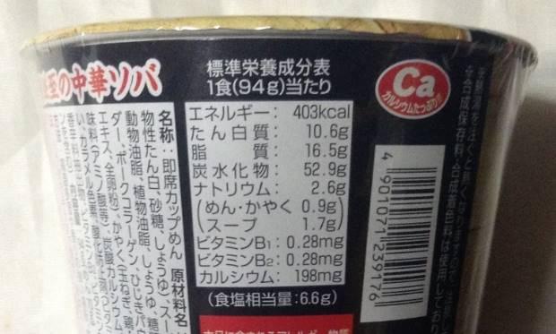エースコック 一度は食べたい名店の味 伊吹監修の一杯 行列必至の中華ソバの栄養成分表示