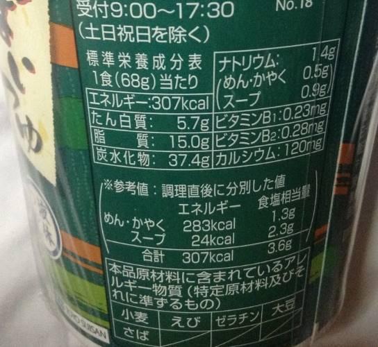 栄養成分表示 うまいつゆ天ぷらうどん(マルちゃん)